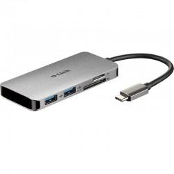 HUB 6 EN 1 2X USB 3.0/SD/MSD/  HDMI/USB-C DLINK DUB-M610