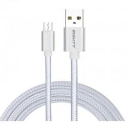 CABLE USB 2.0  1 M A MICRO USB  CARGA TRENZADO PLATA