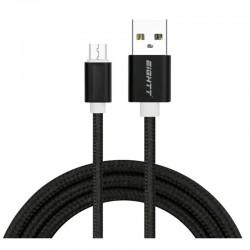 CABLE USB 2.0  1 M A MICRO USB  CARGA TRENZADO NEGRO