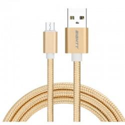 CABLE USB 2.0  1 M A MICRO USB  CARGA TRENZADO ORO