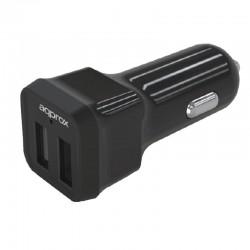 CARGADOR  5V COCHE 2X USB 2.4A  NEGRO