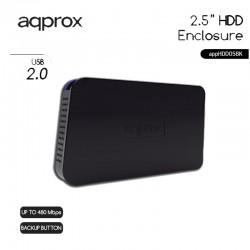 CAJA 2.5 USB 2.0 APPROX NEGRA 12.5mm ENCLOSURE APPHDD05BK