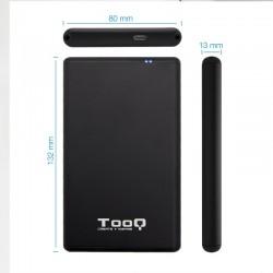 CAJA 2.5 USB 3.1 TYPO A TOOQ  SATA 9.5MM + ADAPTADOR NEGRO