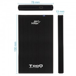 CAJA 2.5 USB 3.1 TOOQ TQE-252 2B 9.5MM SATA NEGRO